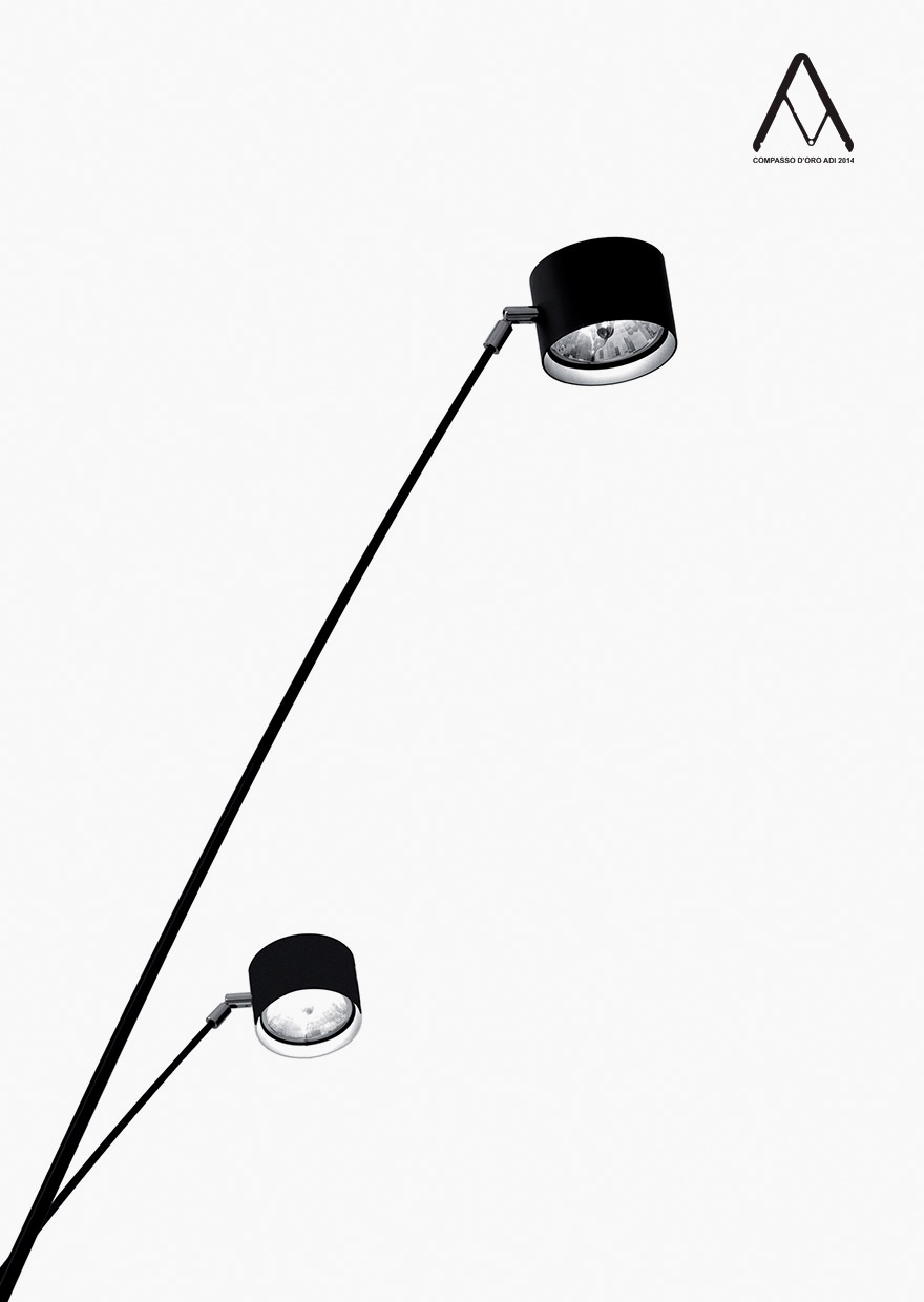 SAMPEI - Floor lamp with dimmer and adjustable spotlight